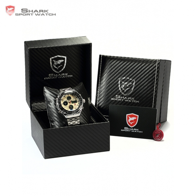 Luxury Leather Box SHARK Sport Watch Mens Watches Top Brand Dual Time Day Steel Band /SH109-112