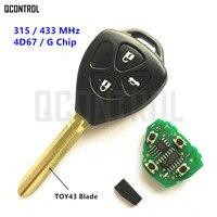 QCONTROL Llave Alejada Del Coche para Toyota Camry Corolla Vios Hilux Prado RAV4 Yaris 3 Botones de Control de Bloqueo Del Vehículo