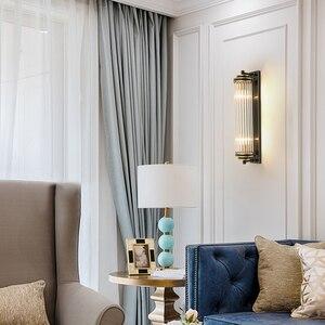 Image 4 - Cristal verre abat jour applique murale chevet pour chambre LED moderne luxe or noir lampes luminaires dintérieur salon éclairage à la maison