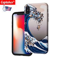 Bonito Brilhante Bling Case para iPhone 6 6 S 7 8 Plus Soft Case para o iphone X XS Max XR cobrir Japão Art Grande Onda Amor Do Cão Jogar Bravos(China)