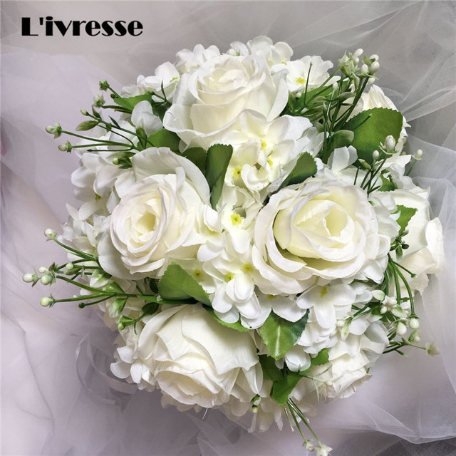 Brooch Wedding Bouquet For Brides Mariage Artificial Rose Flowers