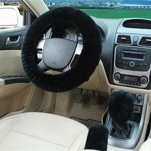 Image 2 - 100% lã trança na cobertura do volante do carro aperto do freio de mão/lã de alta qualidade pelúcia mudança de engrenagem colar