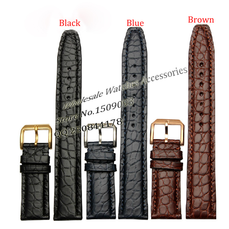 22mm Alligator Leather watchbands New Men Brown Watch Band Strap Bracelet Gold steel Deployment Clasp For Brand luxury fashion watch band 22mm new gold brushed stainless steel bracelet watchbands strap bracelets double flip lock clasp free shipping
