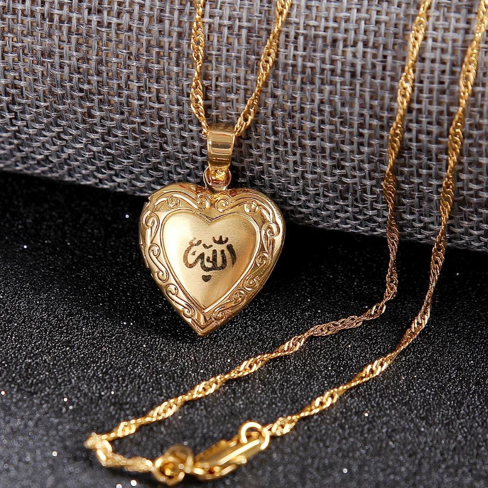 Image 3 - Heart allah pendant Jewelry For Women 24K Gold Color Muslim Heart