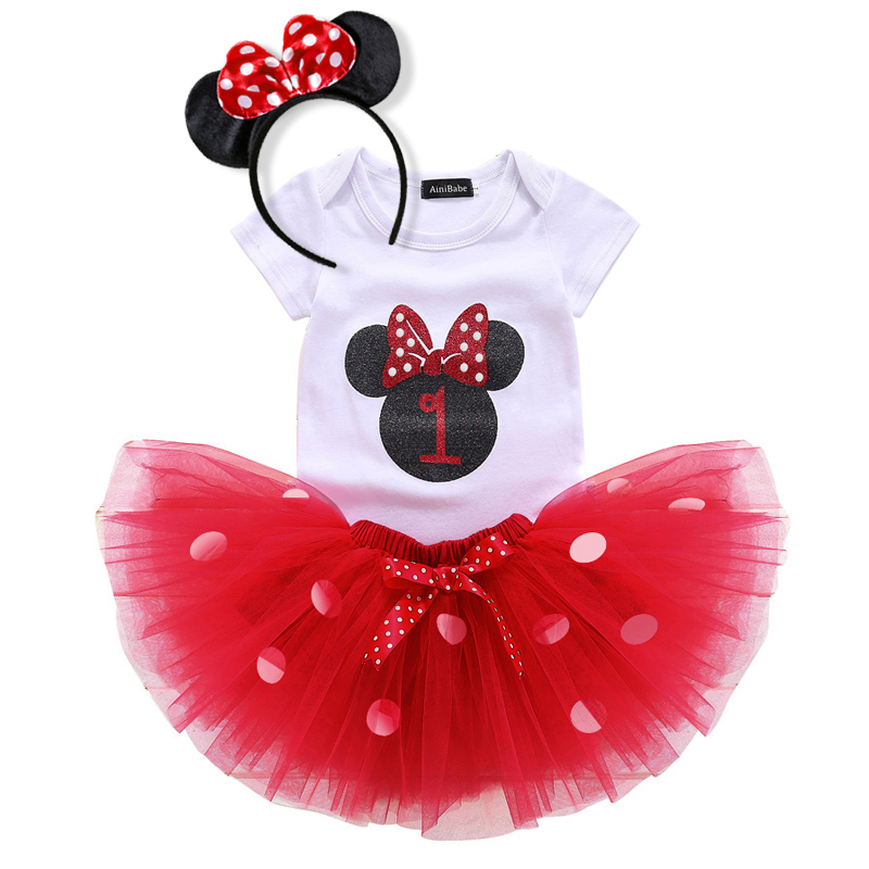 Baby Girls Red Mickey Mouse Top Tutu Skirt Bow 3 Pc Birthday Set 1-2