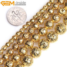 "Gold Silver Rose Gold Color Metallic Coated Round Volcanic Rock Stone Loose Beads For Jewelry Making Strand 15"" Wholesale(China)"