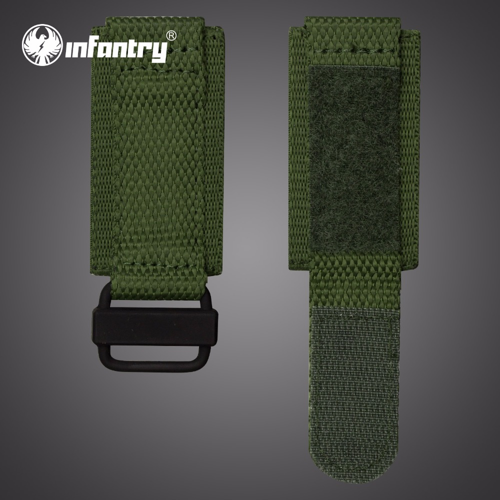 INFANTRY 24mm Watch Straps Military Green Sports Watch Belt Durable Nylon Fabric with Hook and Look Watch Bands Accessories