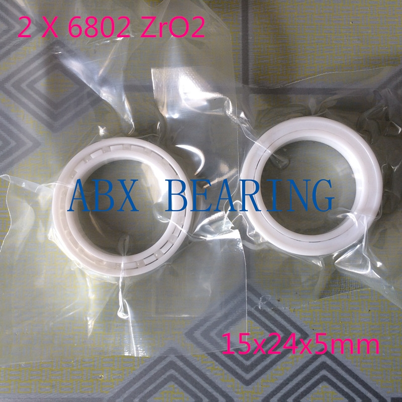 2pcs/lot 6802 61802 full ZrO2 ceramic deep groove ball bearing 15x24x5mm in good quality