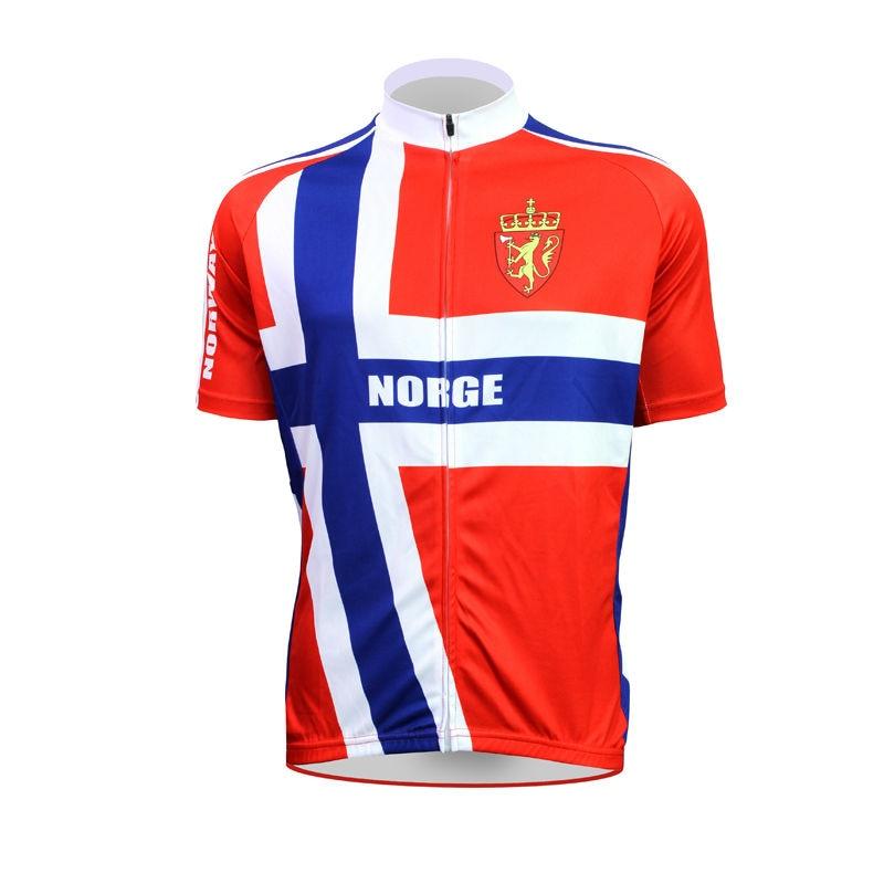 Alien Sportswear ללבוש דפוס דגל נורווגי גברים שרוול קצר מחזור הלבשה גופיות רכיבה על אופניים Pro לנשימה אדום Ciclismo Ropa