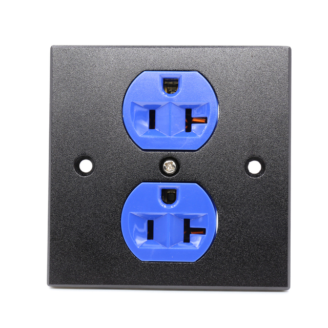 Free shipping 1x US AC blue Power Receptacle Wall Outlet Red Copper ...