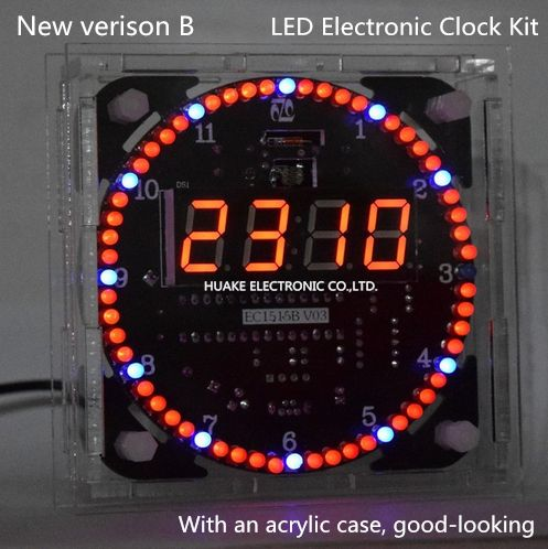 New Version LED Clock Diy Kit Electronic Kit DS1302 Rotation 51 SCM Learning Board+ Acrylic Case Good-looking