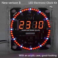 New Version LED Clock Diy Kit Electronic Kit DS1302 Rotation 51 SCM Learning Board DIY Kit
