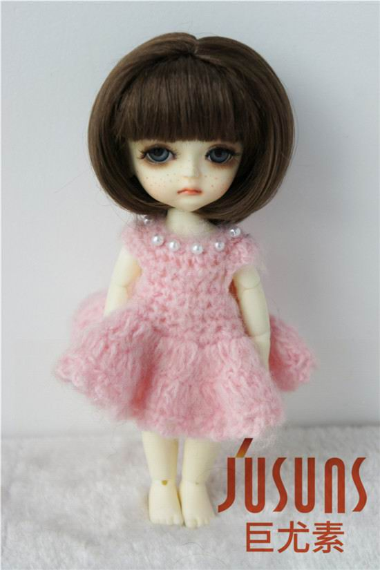 JD286 1/8 13-15cm synthetic mohair doll wigs  5-6inch Lovely short Bobo Cut Air bangs BJD wig Lati yellow doll accessories cheap short bob wig with full bangs black ombre none lace wigs rihanna bobo synthetic hair wigs for black women sale