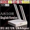 802.11ac TOTOLINK A850R Inteligente Dual Band Quatro Antenas do Roteador Sem Fio de 1200 Mbps de Alta Potência 2.4 GHz 5 GHz Wi-fi Repetidor, nenhuma Caixa de BAILE-