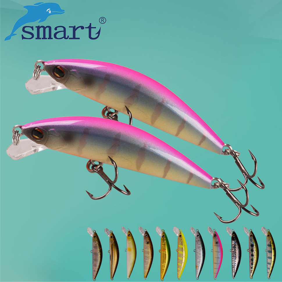 SMART Minnow Esche 55mm4. 6g Sinking Esche Da Pesca VMC Gancio Isca Artificiale Para Pesca Leurre Souple Peche Mer Attrezzatura da pesca