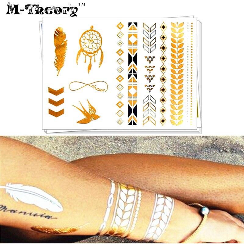 M-teoría Gargantilla de Oro Metálico 3D Maquillaje Temporal Tatuajes Body Art Pl