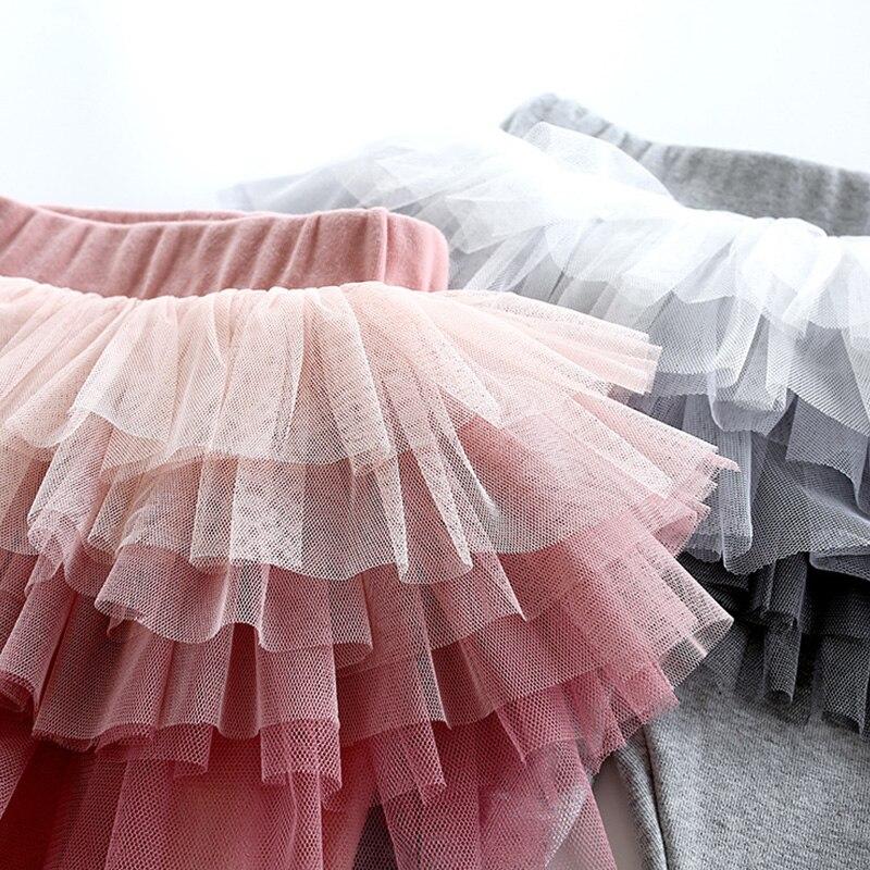 GUMPRUN леггинсы для девочек Юбка-брюки, многослойная юбка-пачка многослойная юбка леггинсы для маленьких девочек Детская кружевная отделка П...