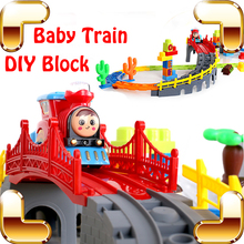 New Arrival Gift Baby Block Train Toy Electric Machine Children Brick Game Built For Fun Creative DIY Railway IQ Education Toys