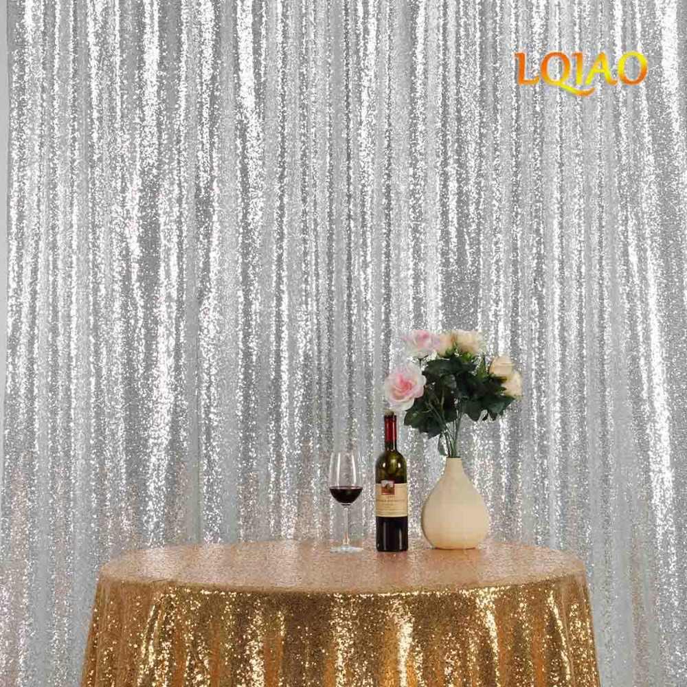 9ft блестящие серебряные блестки Задний план, Романтический блесток Шторы фон для свадьбы Photo Booth блесток Ткань постельное белье украшения