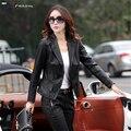 Mulheres Jaqueta De Couro Mulheres Motorcyle Turn-Down Collar Sólidos Pu Lavagem com Água Nova Chaquetas 3XL 4XL 5XL