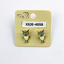 Yellow ms popular jewelry wholesale women birthday party vivid and lovely heart-shaped (owl) earrings earrings free shipping!(China)