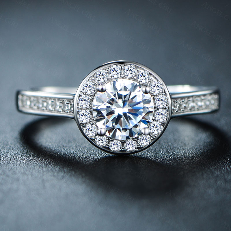 Angel Girl Rings Womens Micro Cz Pave Engagement Ring With 1 Ct Cubic Zirconia Female Luxury