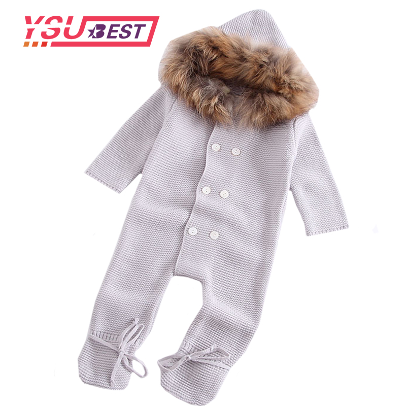 2019 Jumpsuit Baby Girl Autumn Romper Knitted Baby Sleeping Romper Is Stereo Newborn Baby Clothes Baby Romper With Fur Collar