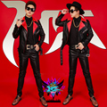Red And Black Leather Motorcycle Rivets Zipper Jacket Nightclub Outerwear Costume DJ Male Singer GD Stage Wear Coat Outfit