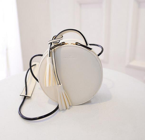 British retro fashion new handbags High quality PU leather Women bag Round cute girl Shoulder Messenger Bag Tassel Female bag free shipping fashion new handbags high quality pu leather women bag british retro bucket bag lock chain shoulder female bag