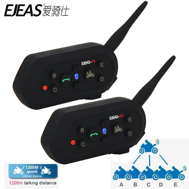 2 pcs EJEAS E6 Motorcycle Intercom VOX Headset Helmet Interphone Bluetooth Intercom for 6 Riders 1200M Communica