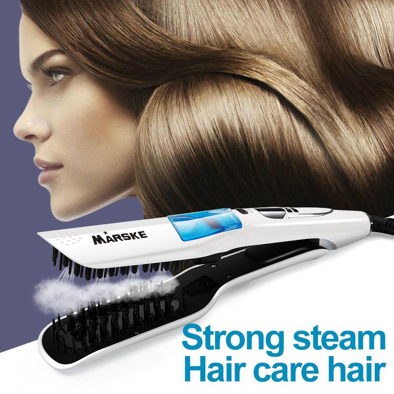 2 dans 1 Vapeur Rapide peigne lisseur Lisse Brosse Électrique fer plat Auto LCD Céramique brosse à cheveux droite