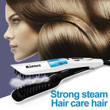 2 in 1 Steam Fast Hair Straightener Comb Smooth Brush Electric Straightening Irons Auto LCD Ceramic Hair Straight Brush new hot tv electric brush fast hair straightener lcd comb auto massager tools ceramic straightening irons