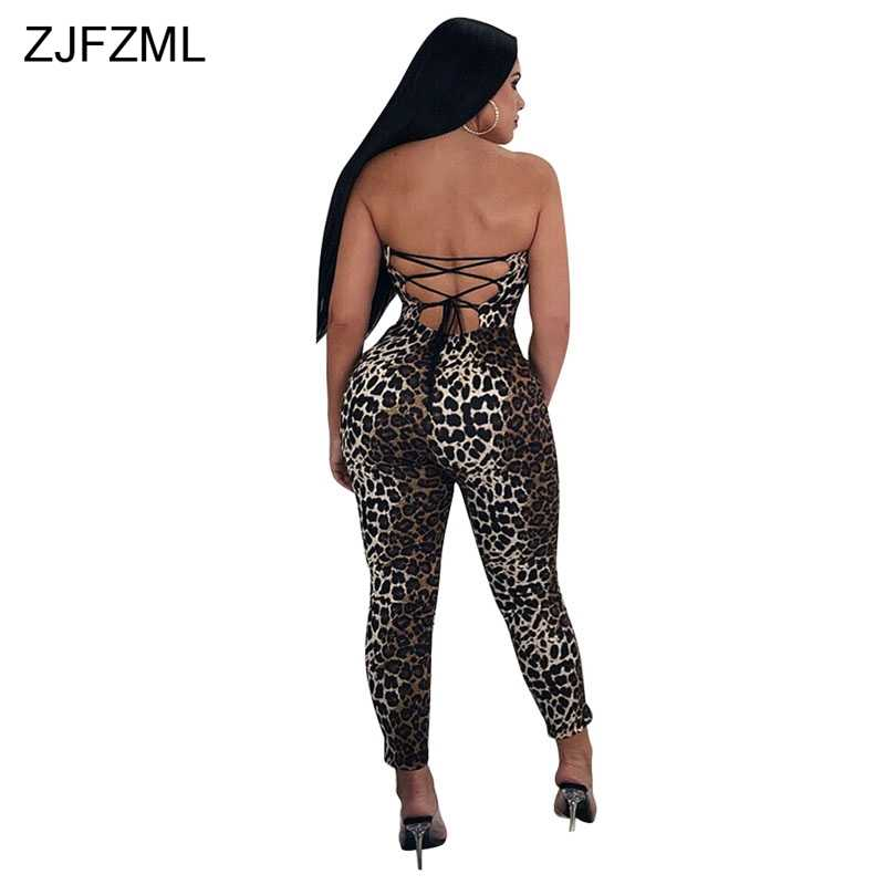 d4f4f7d7255 ... ZJFZML Leopard Print Sexy Rompers Women Jumpsuit Backless Lace Up  Strapless Party Overall Summer Sleeveless Off ...