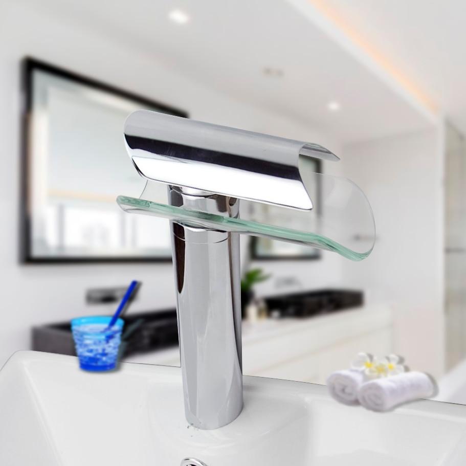 Bathroom Waterfall Faucet Glass Waterfall Wash Basin Mixer Tap Deck ...