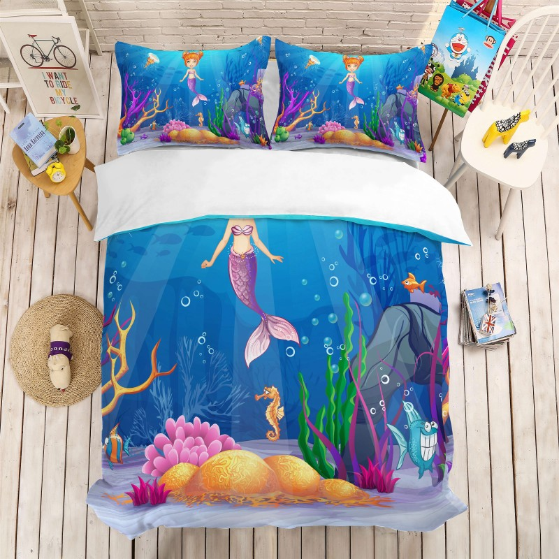 Lovely Cartoon Mermaid Comforter Bedding Set Duvet Cover Pillowcases Queen King Size Bed Sets 3D Printing Kids Adults BedclothesLovely Cartoon Mermaid Comforter Bedding Set Duvet Cover Pillowcases Queen King Size Bed Sets 3D Printing Kids Adults Bedclothes