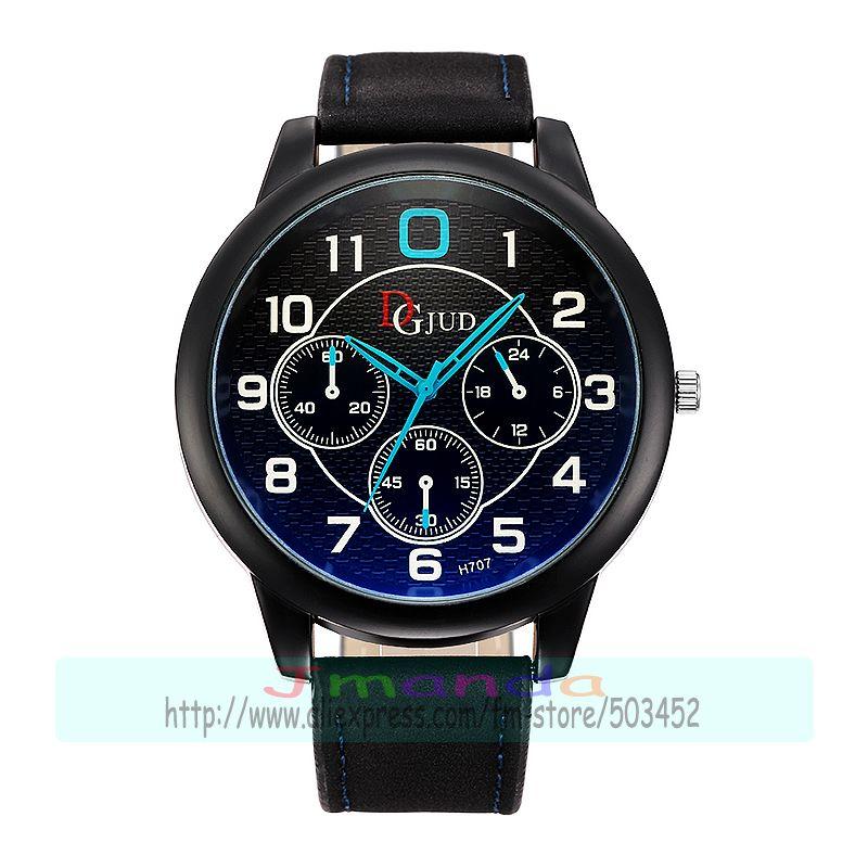 Prix pour 100 pcs/lot JD-H707 nouvelle arrivée grand cadran rond en cuir montre de mode wrap quartz causal montre pour homme en gros casual montre-bracelet