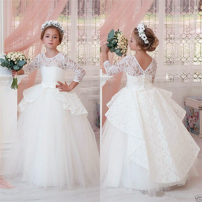 Vintage White/ivory sheer lace flower girl dress V-back ball gown kids holy the first communion gown with sleeves for wedding недорго, оригинальная цена