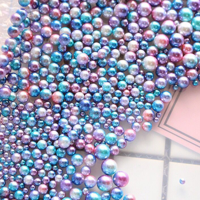 3mm 50/200pcs New nail pearl circle Magic color ABS pearl without holes Gradient color perforated nail decoration nail  tool