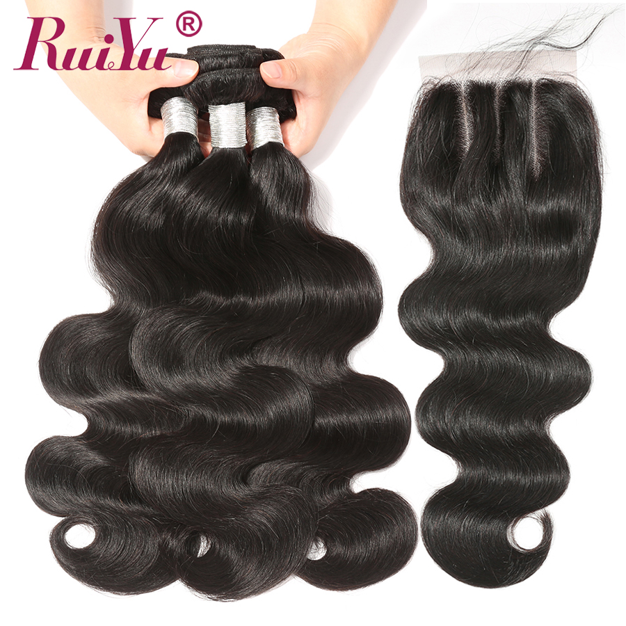 RUIYU Brazilian Remy Hair Bundles With Closure Middle Three Part 3 Bundles With Closure 4 4
