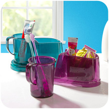 Transparent tooth brush cup holder suit, toothbrush toothpaste wash cup storage rack