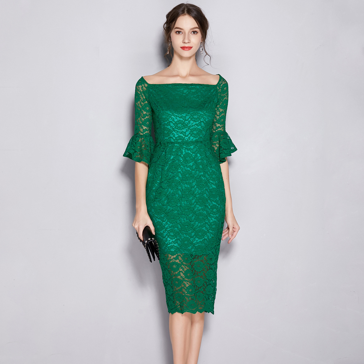 Real Photos Green LACE Elegant Sheath   Evening     Dress   Square Collar Cut-Out Sexy Prom Gown Formal Party   Dresses   Robe De Soiree
