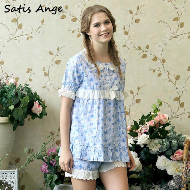 e296a18363 2017 Lovely Cute Cotton Women Summer Short Print Pajamas Loungewear Leasure  Lace Up Pyjama Sleep Set