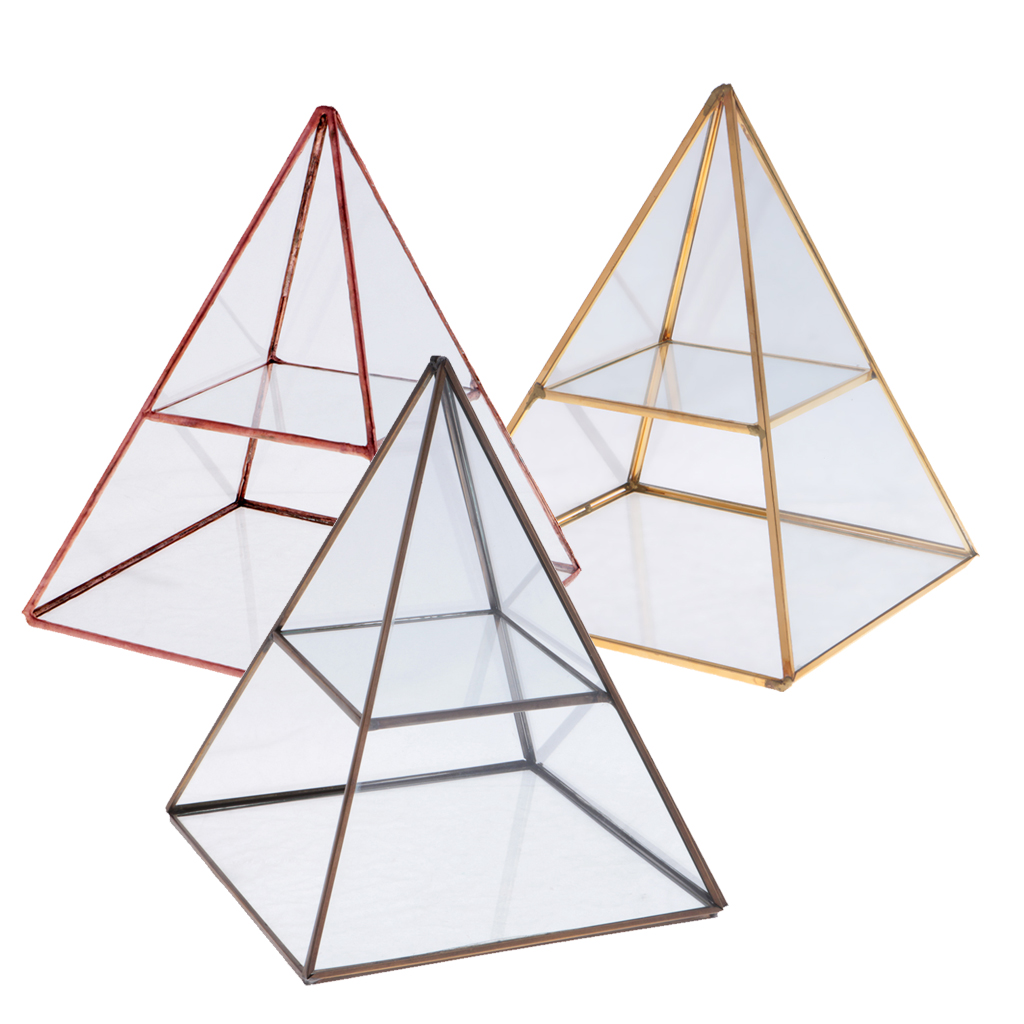 2 Tiers Vintage Style Brass Clear Glass Pyramid Mirrored Shadow Box Jewelry Display Case