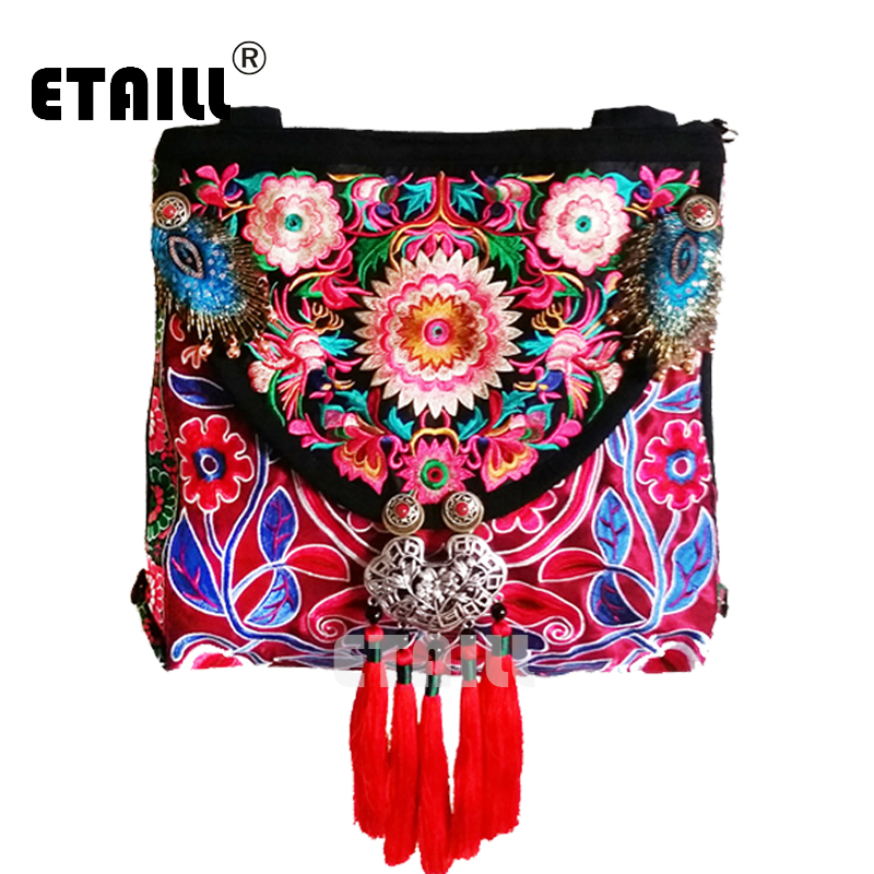 ETAILL 2018 Chinese Hmong Canvas Flower Embroidered Women Bag National Embroidery Single Messenger Bag Red Tassel Crossbody Bag цена