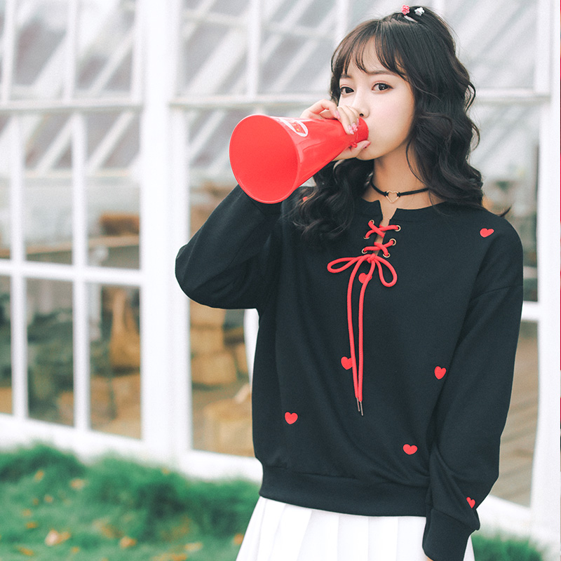32365b4e094 2018 Women's Tunic Sweatshirt Japan Harajuku Ulzzang Love Embroidery Tie  Female Korean Kawaii Svitshot Sweatshirts For Women-in Hoodies & Sweatshirts  from ...