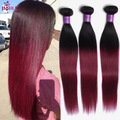 Ms Cat Ombre Malaysian Straight Hair 3 Pcs Ombre Hair Extensions T1b/99j Tissage Bresilienne Burgundy Human Hair Ombre weave