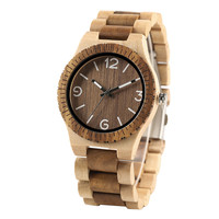 Novel Handmade Full Wooden Creative Men Bangle Quartz Wrist Watch Fashion Nature Bamboo Father's Day Gift