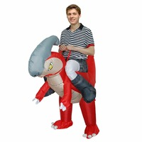 Halloween Purim Party Costume for Woman Man Adult Inflatable Flamingo Bird Cosplay Costume Ride on Red Dinosaur Party Dress Suit