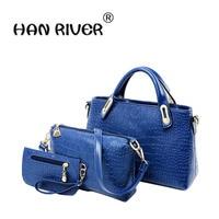 New European and American women handbag bag lady crocodile pattern three piece single shoulder bag mother bag buy one get two fr