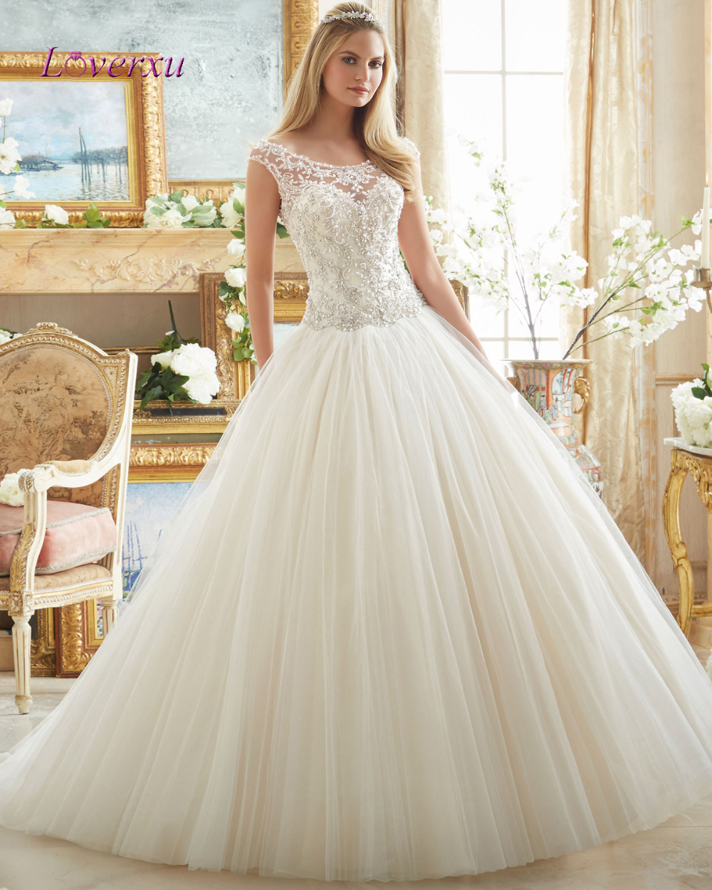 Vintage Wedding Dress Websites : Loverxu romantic scalloped luxury appliques ball
